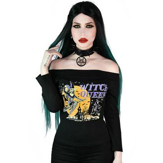 Damen-T-Shirt langarm (oben) KILLSTAR - Hexe Queen Bardot - Schwarz, KILLSTAR