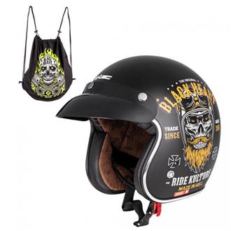 Helm BLACK HEART - KUSTOM RIDE - SCHWARZ, BLACK HEART