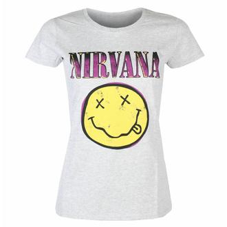 Damen-T-Shirt Nirvana - Xerox Smiley Pink HEATHER - ROCK OFF, ROCK OFF, Nirvana