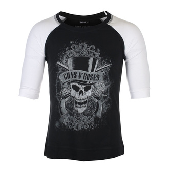 Unisex 3/4 Arm Shirt Guns N' Roses - Faded Skull - BL / WHT Raglan - ROCK OFF, ROCK OFF, Guns N' Roses