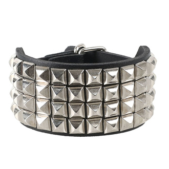Armband Pyramiden 4, Leather & Steel Fashion
