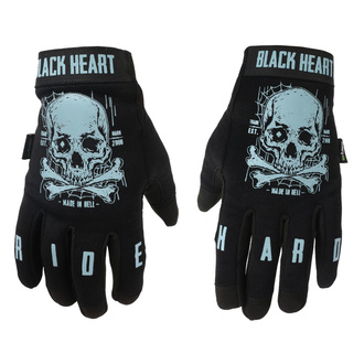 Handschuhe BLACK HEART - Moto W-TEC Web Skull - SCHWARZ, BLACK HEART