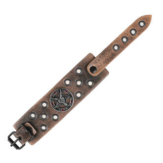 Armband Baphomet - brown - kristall rot, Leather & Steel Fashion