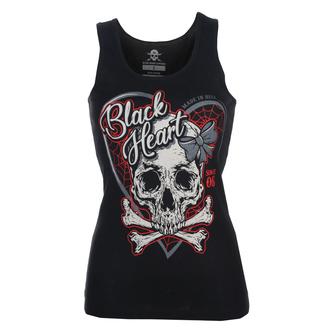 Damen Tanktop BLACK HEART - RIBON SKULL - SCHWARZ, BLACK HEART