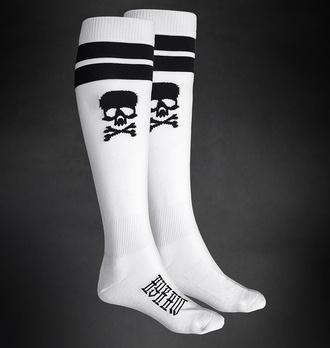 Kniestrümpfe Socken HYRAW - SKULL - WEISS, HYRAW