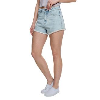 Damen Shorts URBAN CLASSICS - Denim Hotpants - blau gebleicht, URBAN CLASSICS