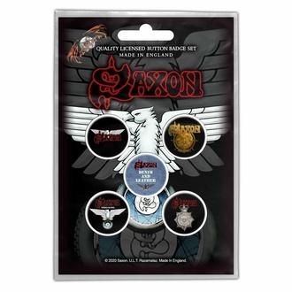 Abzeichen SAXON - WHEELS OF STEEL, RAZAMATAZ, Saxon